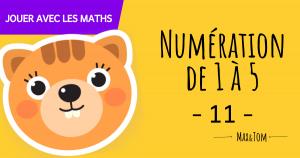 Fiche de numération à imprimer pour apprendre à compter jusqu'à 5