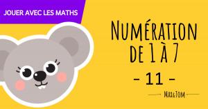 Fiche de numération à imprimer pour apprendre à compter jusqu'à 7