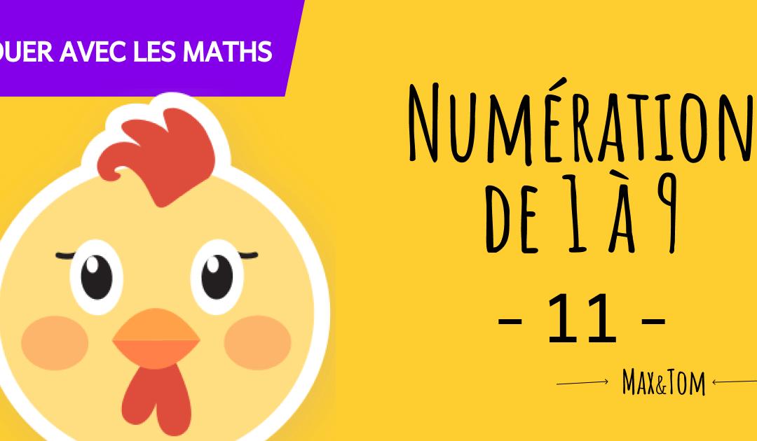 Fiche de numération à imprimer pour apprendre à compter jusqu'à 9