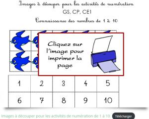 Fiche de numération à imprimer pour apprendre à compter jusqu'à 10