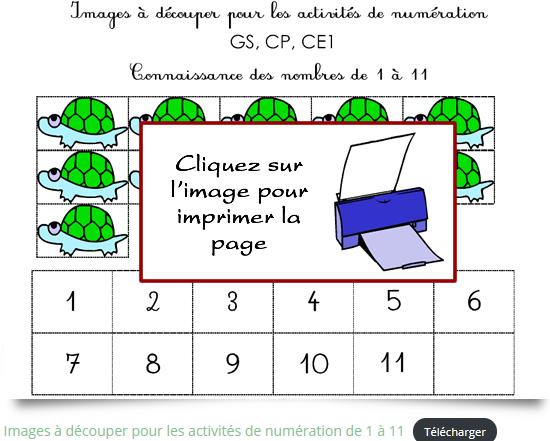 Fiche de numération à imprimer pour apprendre à compter jusqu'à 11
