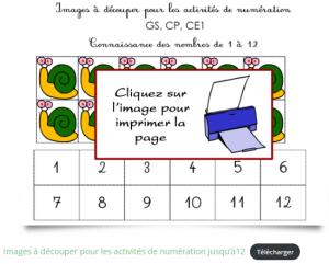 Fiche de numération à imprimer pour apprendre à compter jusqu'à 12
