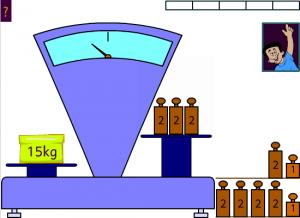 Equilibre la balance avec des masses de 1 et 2 kg