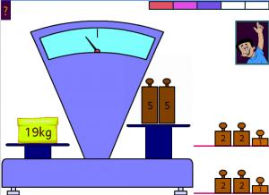 Equilibre la balance avec des masses de 1,2 et 5 kg