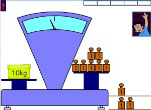 Equilibre la balance avec des masses de 1 kg