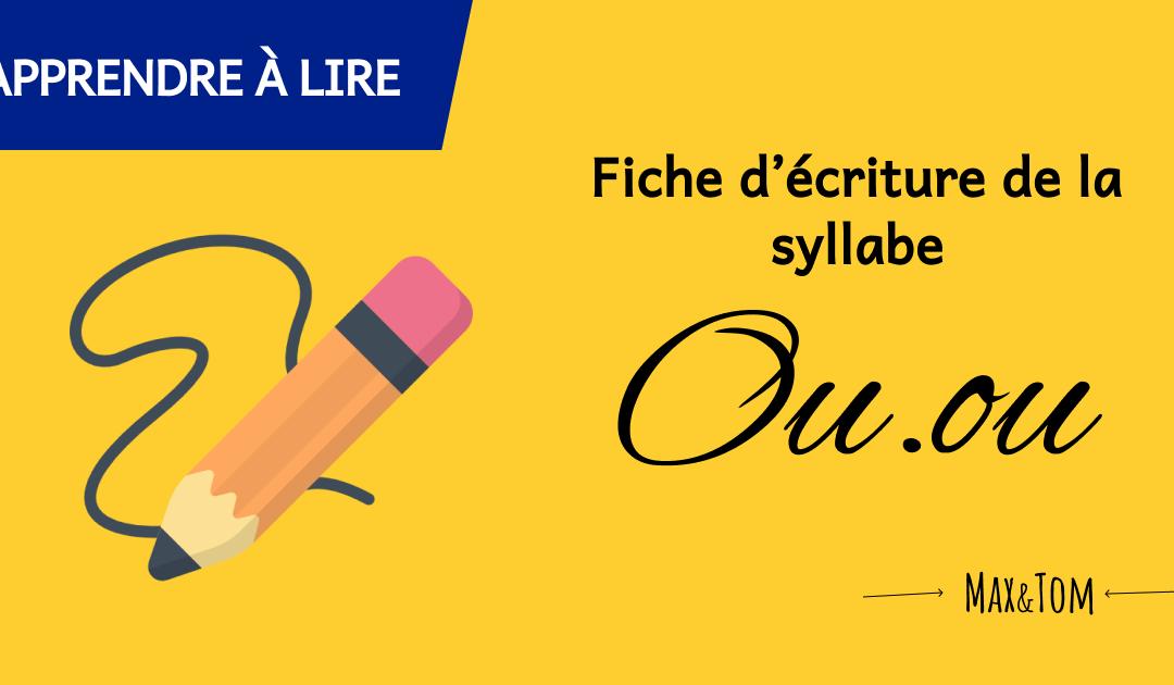 Fiche d'écriture de la syllabe Ou à imprimer